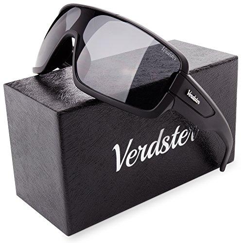 Verdster Trendige Groß Sonnenbrille für Herren - Spezielle TourDePro Gläser - Zubehöretui - UV400 Schutz - Terminator oder Robocop breit Männer Sonnenbrille - Ideal zum Autofahren (Schwarz)