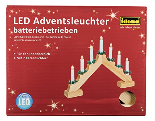 Idena 8582092 - Adventsleuchter aus naturfarbenem Holz mit 7 LED Kerzenlichtern, Batterie betrieben, ca. 40 x 30 cm
