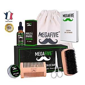Bartpflege- und Pflegeset bestehend aus Bartöl, Bartbalsam, Bartbürste, Bartschere und Bartkamm (Bartpflegeset)