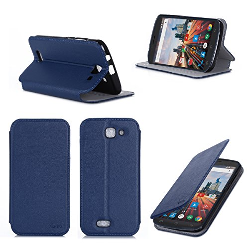 Etui luxe Archos 50E Helium 4G bleu Ultra Slim Cuir Style avec stand - Housse Folio Flip Cover coque de protection Archos 50E Helium 3G/4G/Wifi bleue - Accessoires pochette XEPTIO : Exceptional case !