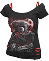 Spiral - Women - TED THE IMPALER - TEDDY BEAR - 2in1 Red Ripped Top Black