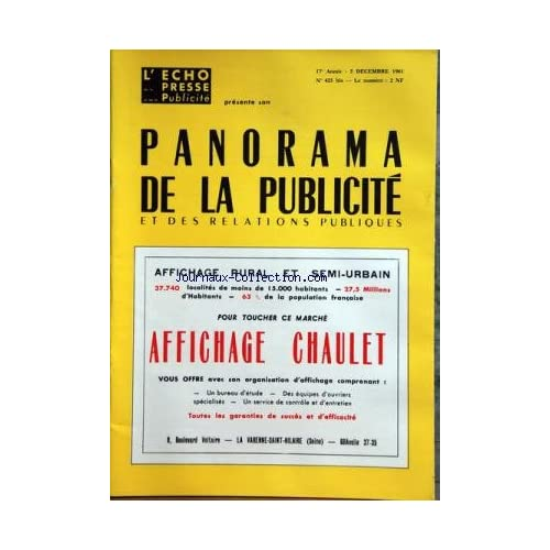 ECHO DE LA PRESSE ET DE LA PUBLICITE (L') du 05/12/1961 - PANORAMA DE LA PUBLICITE ET DES RELATIONS PUBLIQUESAFFICHAGE CHAULET