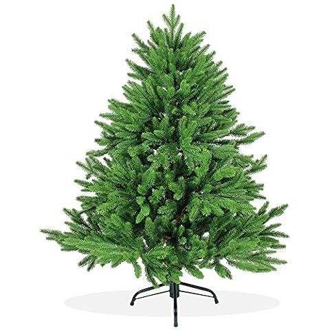 Künstlicher Weihnachtsbaum 120cm DeLuxe in Premium Spritzguss Qualität, grüne Nordmanntanne, Tannenbaum mit PE Kunststoff Nadeln, Nordmannstanne