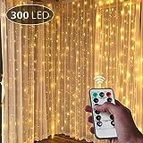 LED Lichterkette Innen, isimsus 3M*3M USB Kupfer 300 LEDs String Light Lichterketten Vorhang Fernbedienung Wasserdicht 8 Programm Zeitwahl Dimmen LED-Lichter für Innenbeleuchtung, Hochzeit, Party