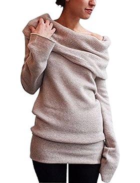 Minetom Mujer Otoño Invierno Moda Suéter Largo Off Shoulder Jersey Prendas de Punto de Cuello Barco Sweater Mangas...