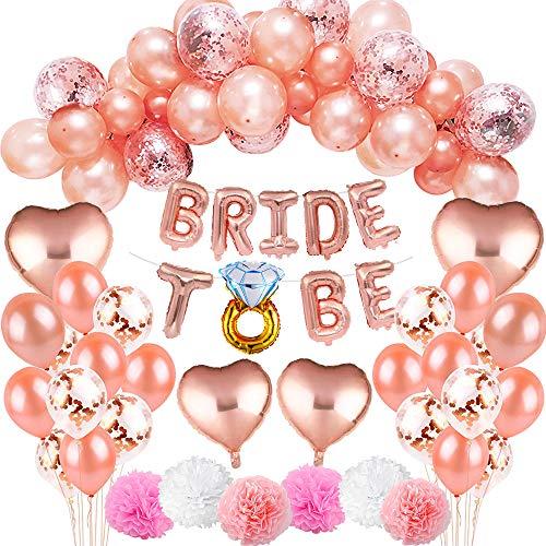 MMTX 37 Stück JGA Deko Ballons Rosegold Set Helium Buchstaben Folienballons Bride to BE, Bachelorette Team Braut Partei Liefert mit Braut Folienballons für Tochter Mädchen Abschied Verlobung Party