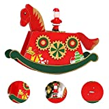 SO-buts Horse Shaped Music Wooden Box,Christmas Theme Music Box Xmas CM© toy Gift for Kids Children (Red, 24x18x6cm)