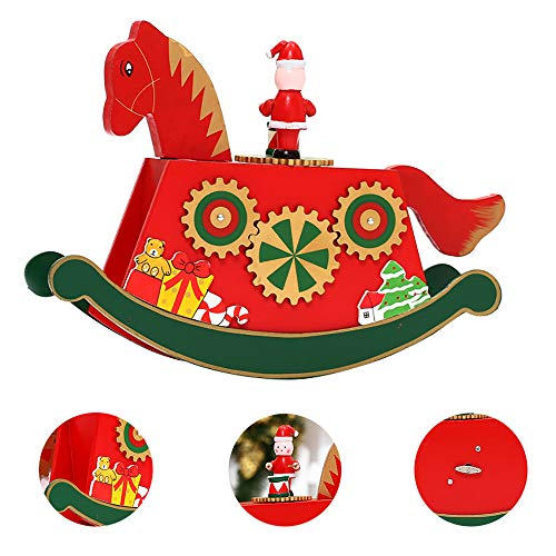 Coupon Matrix - SO-buts Horse Shaped Music Wooden Box,Christmas Theme Music Box Xmas CM© toy Gift for Kids Children (Red, 24x18x6cm)