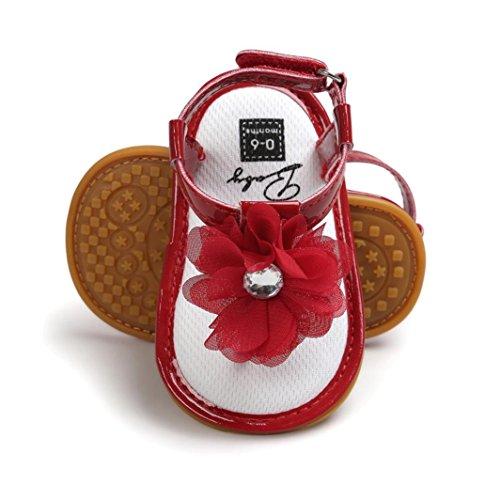Rawdah , Chaussures premiers pas pour bébé (fille) rose rose foncé red