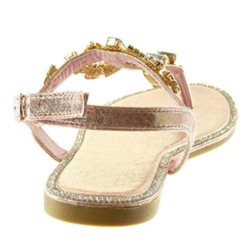 Angkorly Scarpe Moda Sandali Infradito Cinturino con Cinturino Alla Caviglia Donna Gioielli Strass Fantasia Tacco a Blocco 1.5 cm Champagne