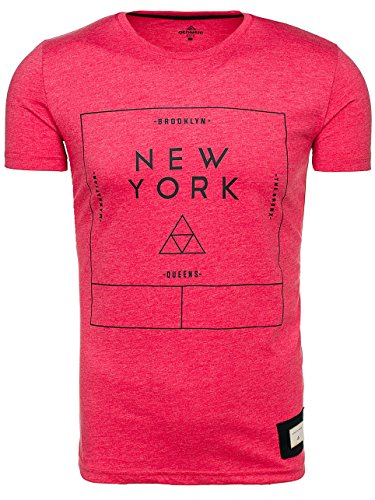 BOLF Herren T-Shirt Tee Kurzarm Casual Rundhals Slim Fit ATHLETIC 1119 3C3 Motiv Party Rot