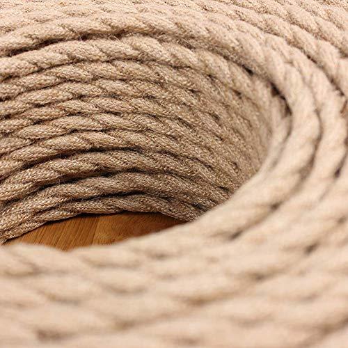 Textilkabel für Lampe - Happyroom Textilummanteltes Stoffkabel Stromkabel 3x0,75mm² 3-adrigElektrokabel gedreht verseilt einzeln umflochten für Pendelleuchte DIY Lampenzubehör (10M)