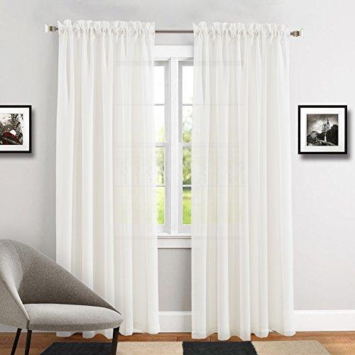 TOPICK Transparent Voile Gardinen Vorhänge für Wohnzimmer mit Stangendurchzug, 241 x 140 cm(H x B), 2 Stücke,Weiß