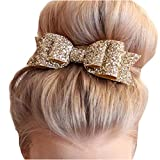 Gracewedding Womens Satin Big Bow Hair Clip Barrette Accessory-Sequin Bow Clips (Gold)
