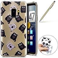 Herbests Handy Tasche für Samsung Galaxy S9 Silikon Hülle Durchsichtige Schutzhülle Crystal Clear Transparent Ultra Dünn Handyhülle Silikonhülle Kristall Klar TPU Bumper,schwarz Eule