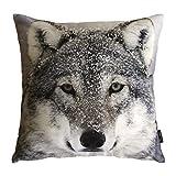 phantoscope® Mountain Snow Serie dekorativer Überwurf-Kissenbezug, Mikrofaser, wolf, 45 x 45 cm