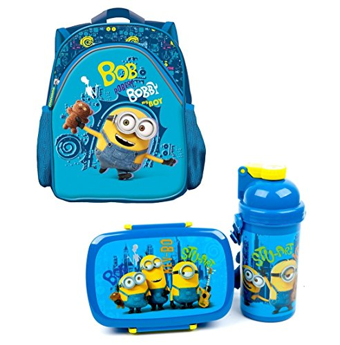 Minions 3tlg. Set Rucksack mit Brotdose und Trinkflasche z.B. für den Kindergarten 1659