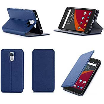 Etui luxe Wileyfox Swift 4G/LTE Dual Sim bleu Ultra Slim Cuir Style avec stand - Housse Folio Flip Cover coque de protection Wileyfox Swift - Accessoire XEPTIO case