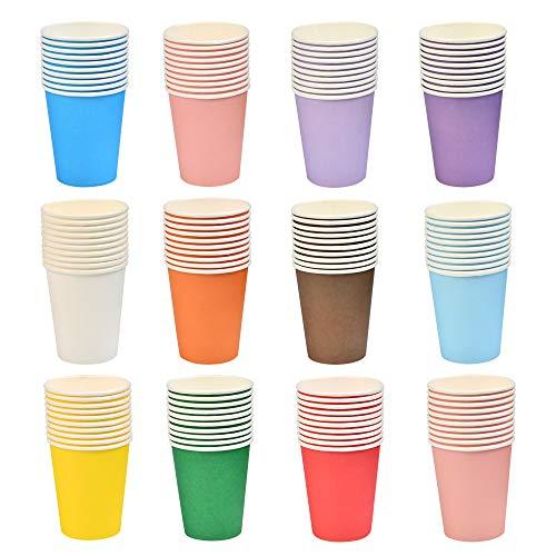 BUYGOO Bicchieri Monouso Caffé Bicchieri Usa e Getta 120pz, Bicchieri Acqua Biodegradabili Bicchieri Carta con Rivestimento PE18 Tazze Cartone Caffè d'Asporto Colorate 250ml per Bevande Calde e Fredde