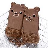 Kinder wärmen Dicke Pelz Handschuhe Handschuhe schöne Kaninchen Acryl Handschuhe mit Saiten-Khaki