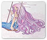 VAICR Tappetino Mouse Makeup Mouse Pad,Young Woman with Long Haircut on Swing Feminine Figure on Vintage Motifs Backdrop,Non-slip Rubber Base,Laser Optical Mouse Compatible