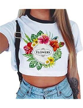 Baijiaye Mujer Transpirable Crop Top Patrón Impreso Corto T-Shirt Chica Joven Casual Pulóver Temporada De Verano...