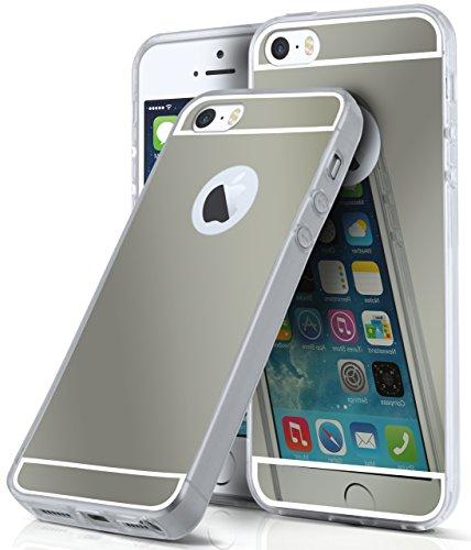 Spiegel iPhone 5S Hülle Silber Silikon [OneFlow Mirror Back-Cover] TPU Schutzhülle Dünn Handy-Hülle für iPhone 5/5S/SE Case Ultra-Slim Silikonhülle Rückseite PLATIN-SCHWARZ