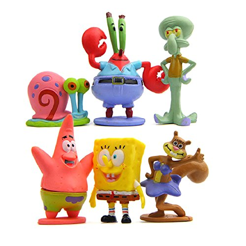 Colección de 6 personajes Bob Esponja Calamardo Patricio Señor Cangr