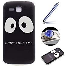 Funda Caso de Movil [Huawei Ascend Y600] ,ETSUE Moda Trasparente Suave Protector de Funda Caso para Huawei Ascend Y600,Huawei Ascend Y600 Silicona Delgado Ultra-Thin Funda Cáscara del teléfono para Huawei Ascend Y600+ 1 x Blue Stylus Pen + 1 x tapón anti polvo (colores aleatorios) - Don't Touch Me