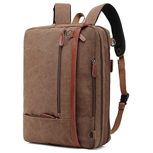 CoolBell umwandelbar Aktentasche Rucksack Messenger Bag 17,3 Zoll Laptoptasche Herren Business Umhängetasche Mehrzweck Arbeitastasche Reisen Backpack Notebook Schultertasche(Canvas Coffee)