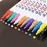 ciaoed Metallic Marcador Pens, marcador permanente, Conjunto de 12colores para tarjeta Fabricación DIY álbum de fotos Uso en irgendeiner superficie de papel cristal plástico Cerámica