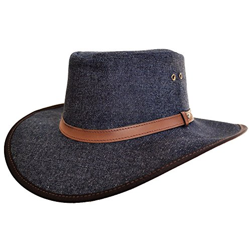 Handgefertigte Denim (Cowboy Hut - Outdoor Hut/Australischer Hut/wasserdicht/Safari Hut - Safari/Outdoor/Südafrika/Outback - handgefertigt Denim Hut mit Leder Fliege Band -)