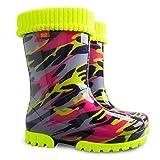 Demar 12/13 UK Child: Girls Kids Baby Girl Wellies Wellington Boots Rainy Snow Liner Sock Mozaic Red Yellow Black