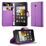 Cadorabo Hülle für Huawei Ascend Y330 Hülle in Mangan Violett Handyhülle mit Kartenfach und Standfunktion Case Cover Schutzhülle Etui Tasche Book Klapp Style Mangan-Violett