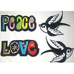 Toppa Toppe Patch applicazioni termoadesiva termoadesive Stoffa per Jeans Vestiti Bambini 4 pezzi UCCELLO 2 pezzis Bianco e LOVE + PEACE 8 a 10 cm a pezzo