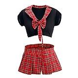 TiaoBug Mujer Uniforme Escolar de Cuadros Escocesos Sexy 2Pcs Disfraz Conjunto con Crop Top y Falda Corta Black&Red L