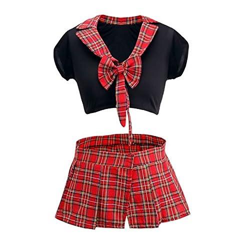 FEESHOW Uniforme Costume Cosplay Haut Top avec Rôle Play Skirt Jupe pour Femme Sexy Ecolière Noir rouge Taille unique