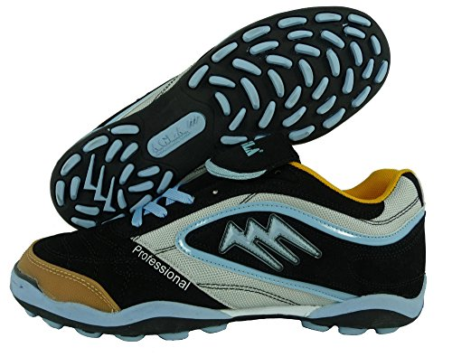 AGLA PROFESSIONAL TURF SLIM OUTDOOR scarpe calcetto futsal calcio a 5 anti-shock system (38, black/celeste)