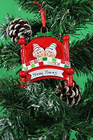 Personalized Christmas Tree Decoration Ornaments Bed Heads Family - For the family of 2 members- Get your desired names on the items- A perfect Christmas