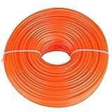 Zerodis Trimmer da 3mm con filo di nylon Treccia di piombo con filo quadrato e filo metallico(50m)