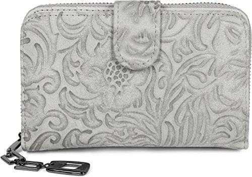 styleBREAKER Geldbörse mit Blumen Ornament Prägung, umlaufender Reißverschluss, Portemonnaie, Damen 02040101, Farbe:Hellgrau