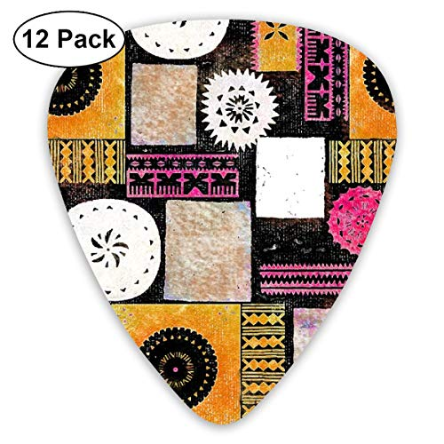 Fijian Tapa 5b_2096 Classic Celluloid Picks, 12-Pack, For Electric Guitar, Acoustic Guitar, Mandolin, And Bass
