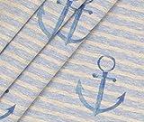 0,5m Jersey Exclusiv Maritim Große Anker - hellblau meliert Eigendruck BioBunt