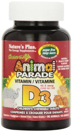 Natures Plus Sugar Free Animal Parade Vitamin D3 500IU KauTablettetens (Natural Black Cherry Flavour) 90 (Kautabletten Kinder-multi)
