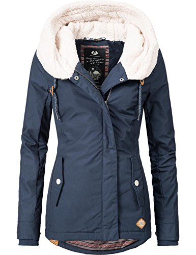 Ragwear Damen Mantel Wintermantel Winterparka YM-Monica (vegan hergestellt) Navy Gr. S