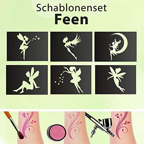 Set di stencil per tatuaggi per bambini, motivo fatine, 6 stencil glitterati, autoadesivi
