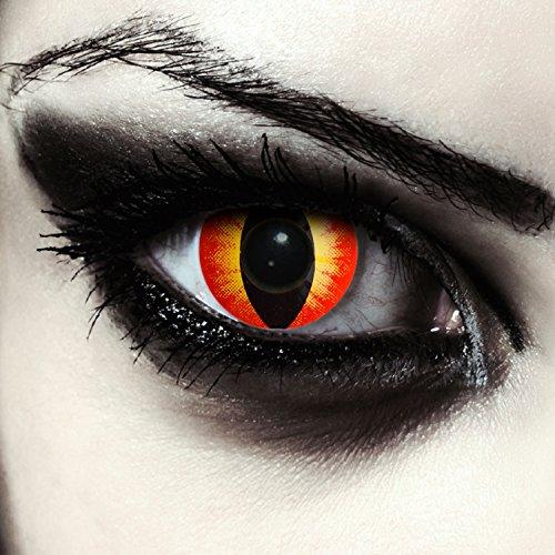 "Lentillas de color rojo para Halloween ojo de gato lentillas sin dioprtías / corregir + gratis caso de lente ""Red Star Cat eye"""