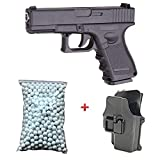 Galaxy Pack de regalo de pistola para Airsoft, G17, de metal negro, 0,5 J, con cartuchera, 6 mm de...