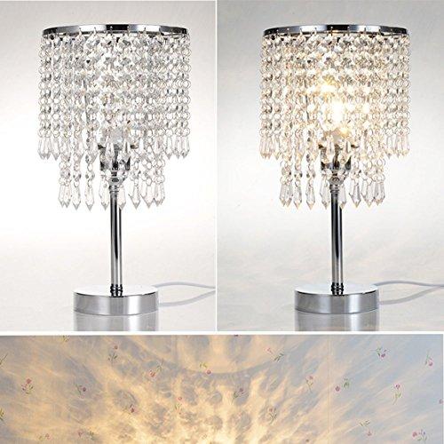 Tischleuchte, T-MIX luxuriöse Kristall-Lampenschirm Edelstahl Fassungen stilvolle Schönheit in den Schlafzimmer Wohnzimmer platziert - 7