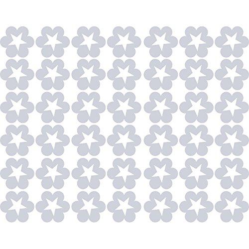 Lovely Fancy Sparkling Shiny Romantic Flowers Stars (47cm x 60cm) scegli il colore 18colori in azione bagno, Childs camera da letto, camera dei bambini stickers, vinile auto, finestre e autoadesivo della parete, muro di finestre Art, decalcomanie, ornamento vinile Thatvinylplace Metalic Silver